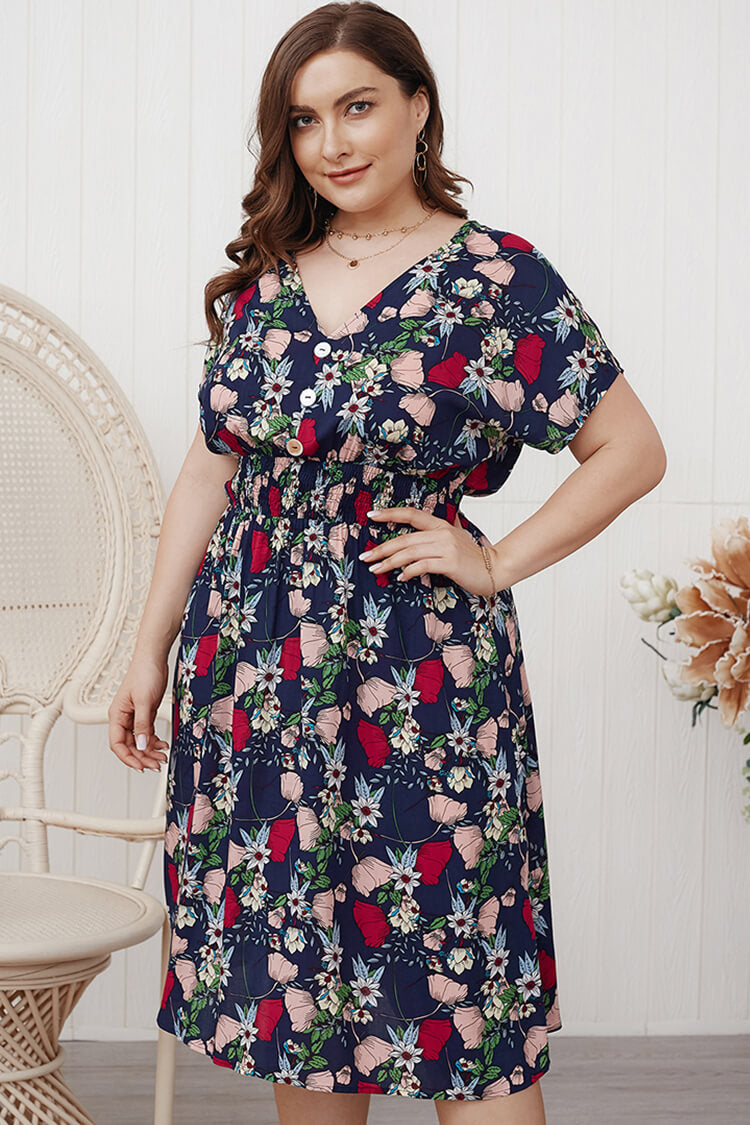 Plus Size Short Sleeve V Neck Floral Dress