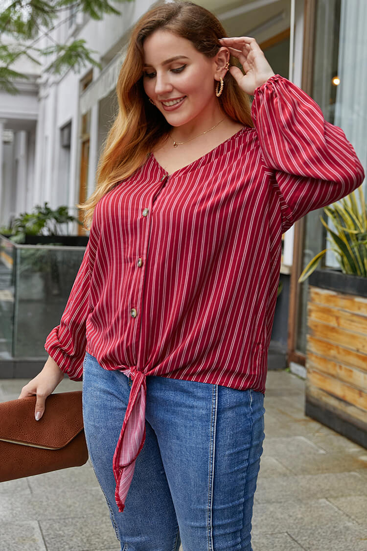Plus Size Stripe Knotted Fornt V Neck Blouse
