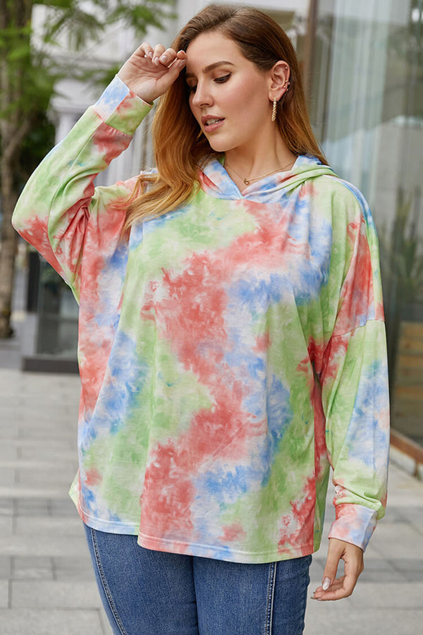 Plus Size Tie-dye Long Sleeve Hoodies