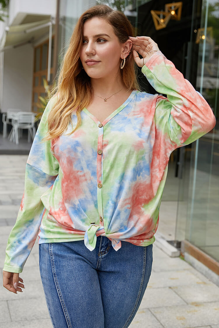 Plus Size Tie Dye Knotted Front Long Sleeve V Neck Blouse