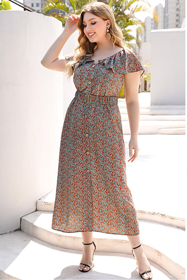 Plus Size V Neck Floral Maxi Dress
