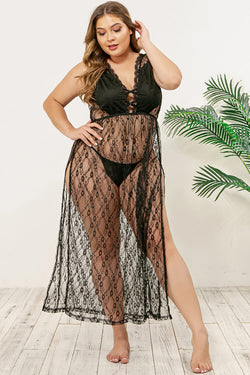 Plus Size V Neck Lace Nightwear Dress