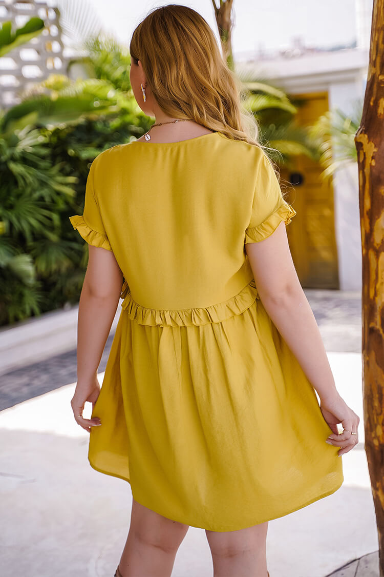 Plus Size Yellow A-line Reffles Mini Dress