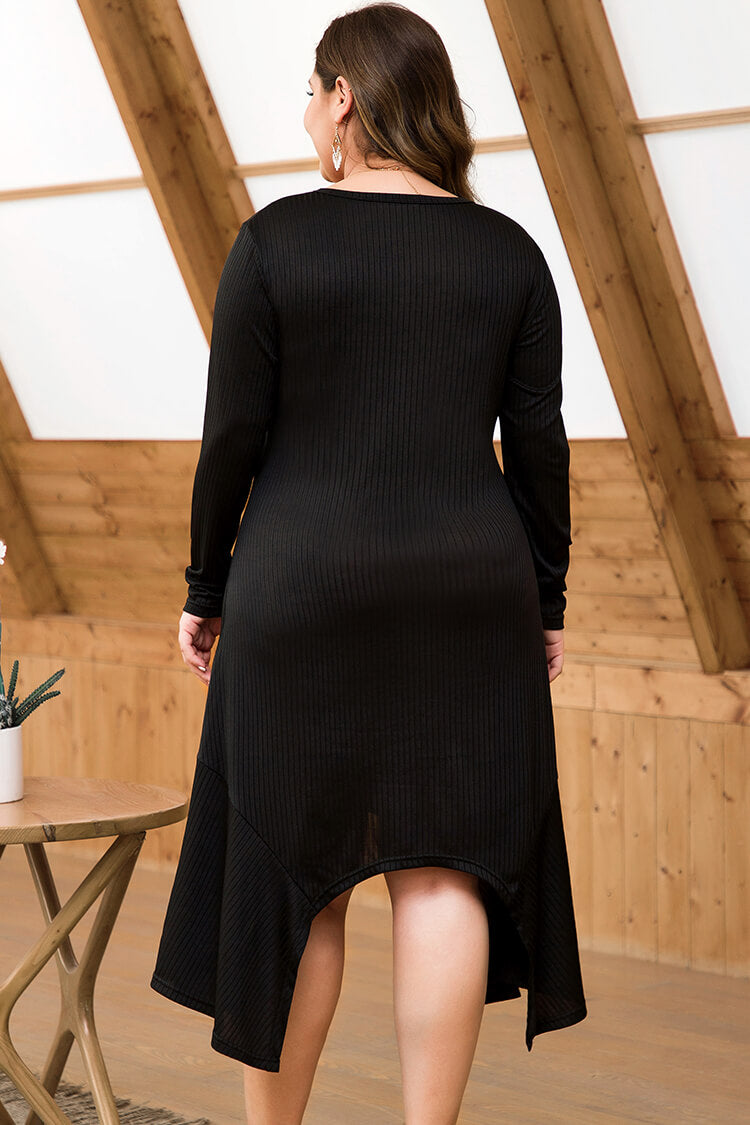 Lolglas Plus Size Black Asymmetry Shirt Dress
