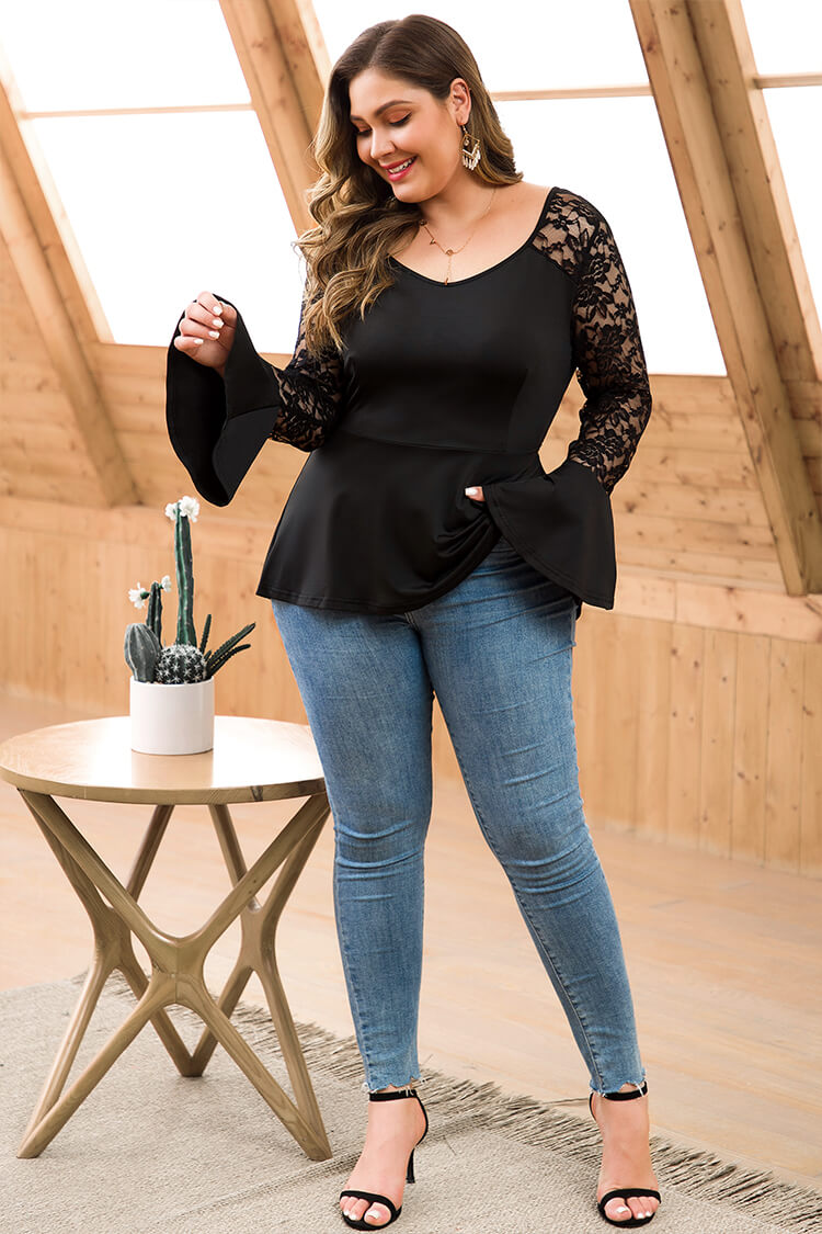 Plus Size Black Lace Bell Sleeve Crop Peplum Midi Top