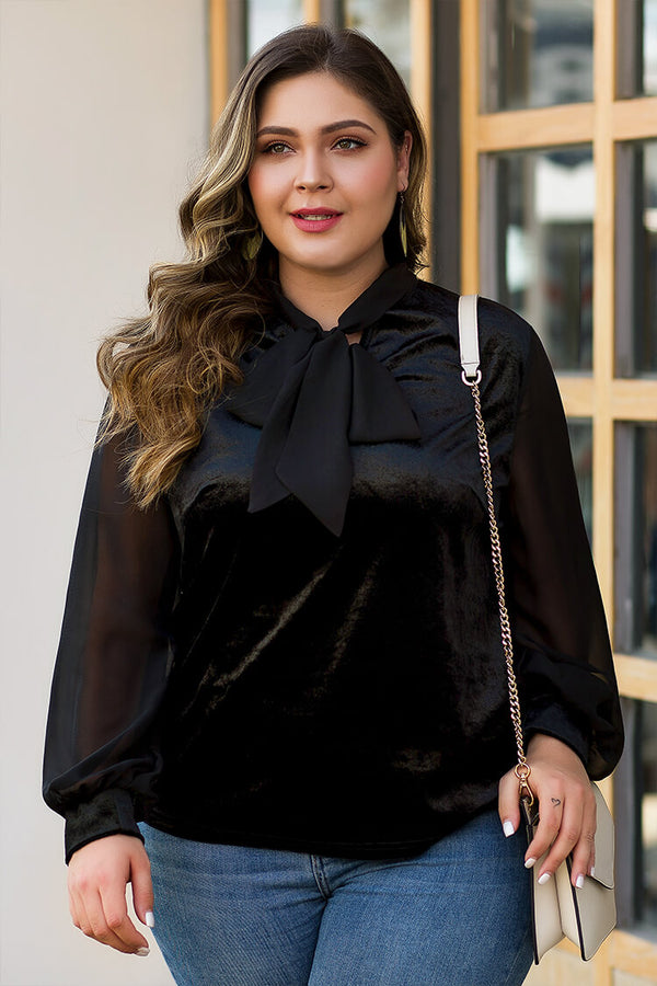 Plus Size Black Velvet Mesh Sleeve Bowknot Front Top