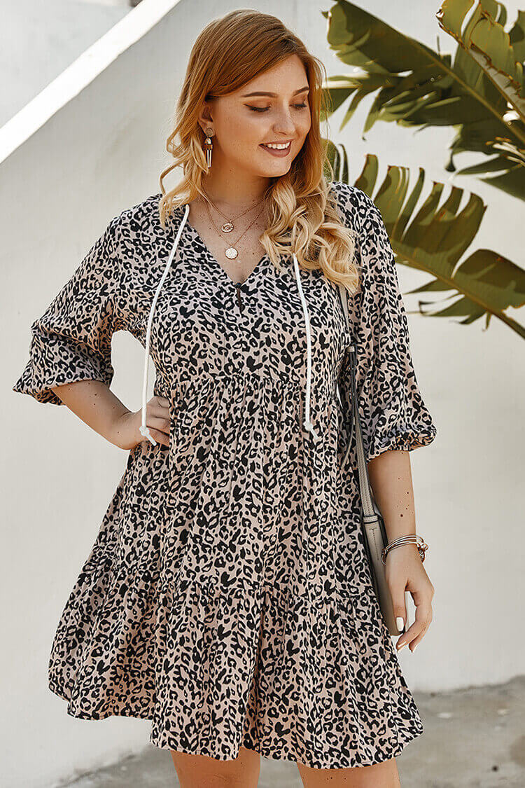 Plus Size Drawstring Leopard Skater Dress