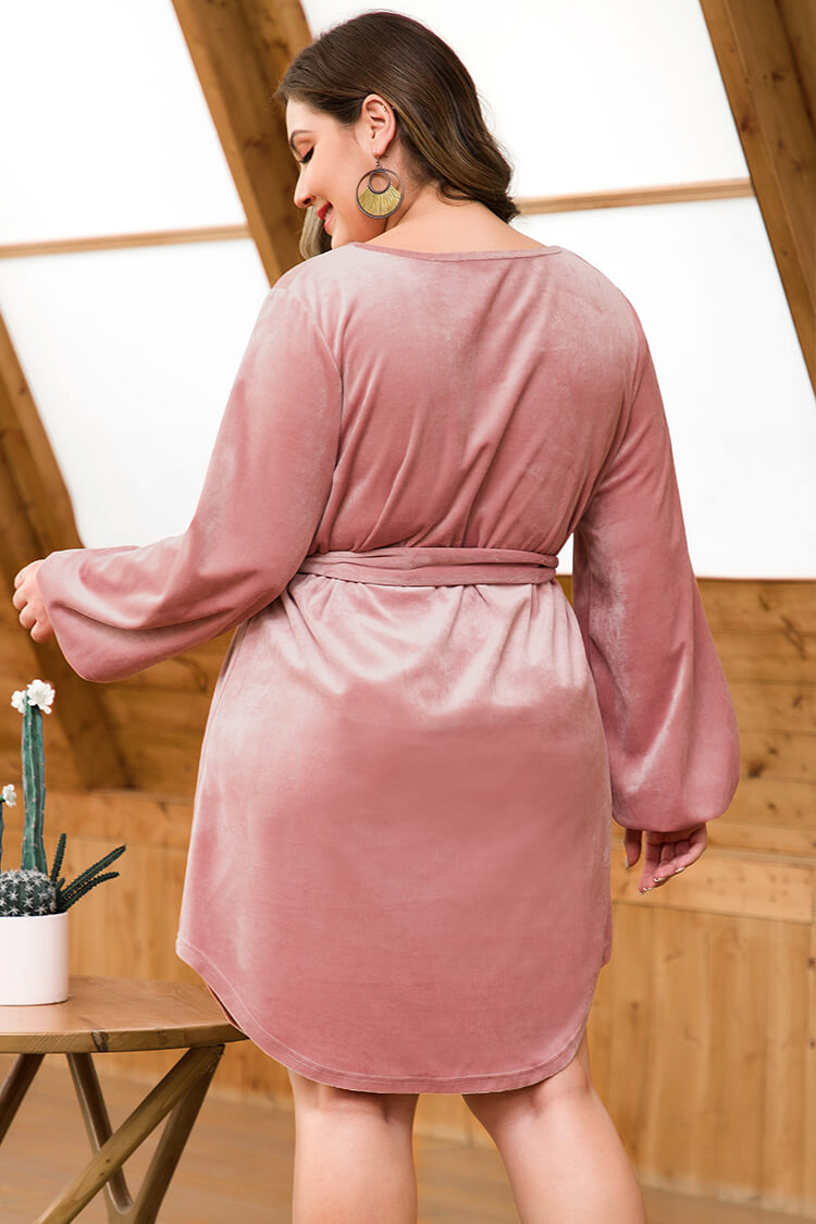 Plus Size Dusty Pink Velvet Belted Casual Dress