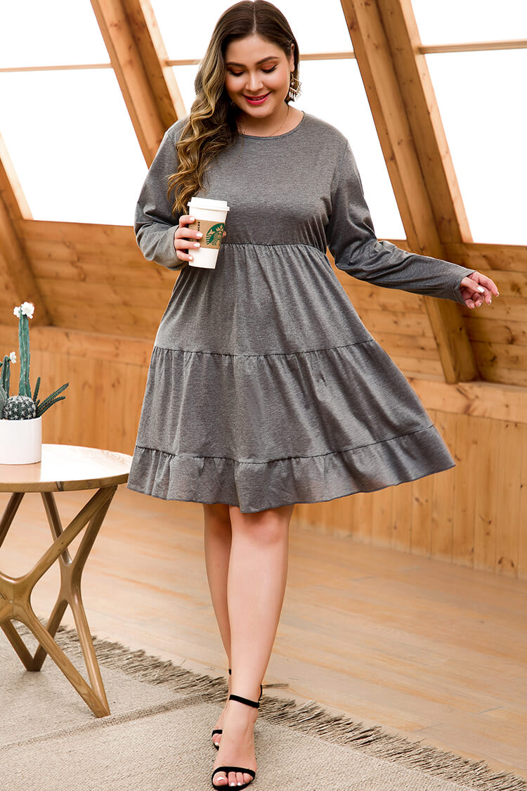 Lolglas Plus Size Grey Knitted layered Dress