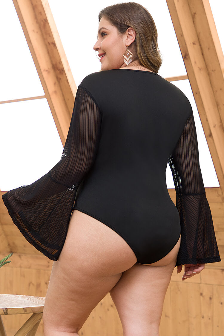 Lolglas Plus Size Lace-Trim Black Bodysuit