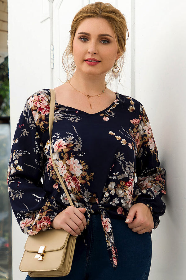 Lolglas Plus Size Navy Floral Knotted Front Blouse