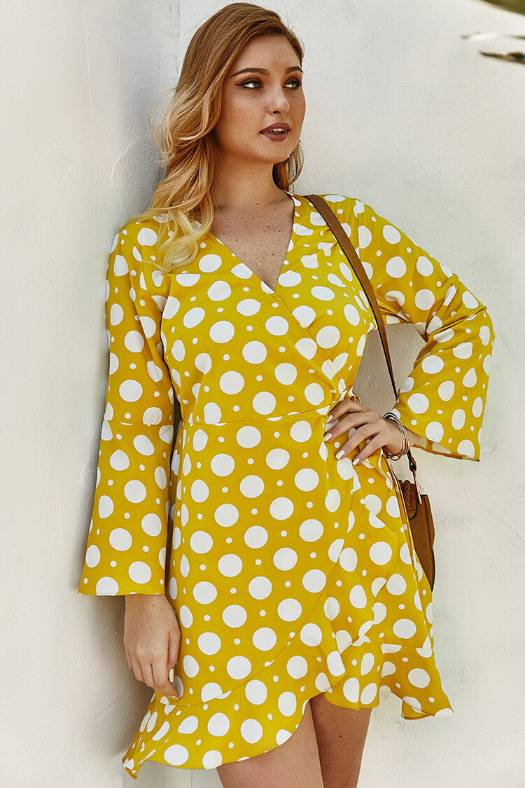 Lolglas Plus Size Poka Dot V-Neck Ruffles Mini Dress