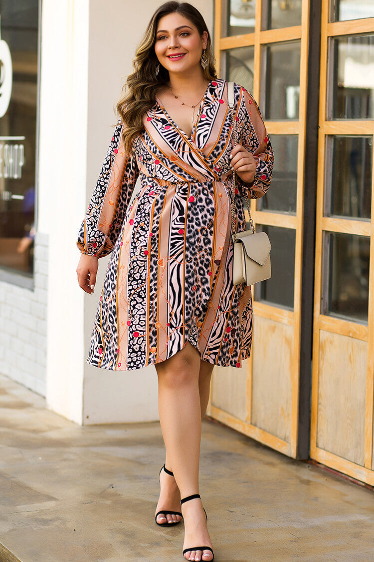 Plus Size Stripe Leopard Print Wrap Dress