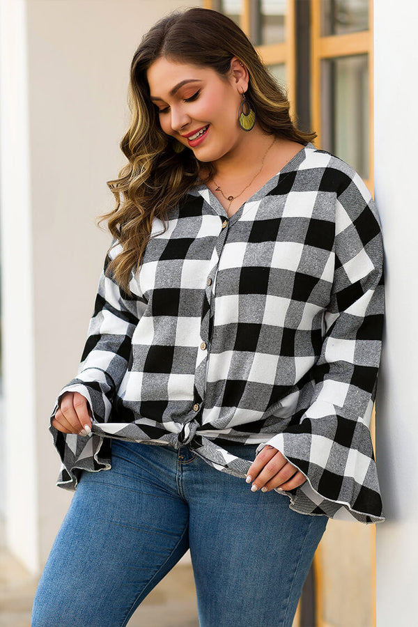 Plus Size White & Grey Plaid Button Front Knotted Shirt