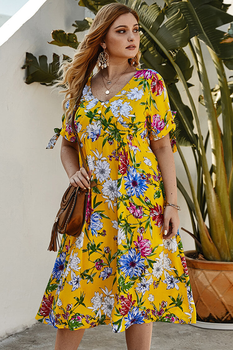 Lolglas Plus Size Yellow Floral Short Sleeve Sundress