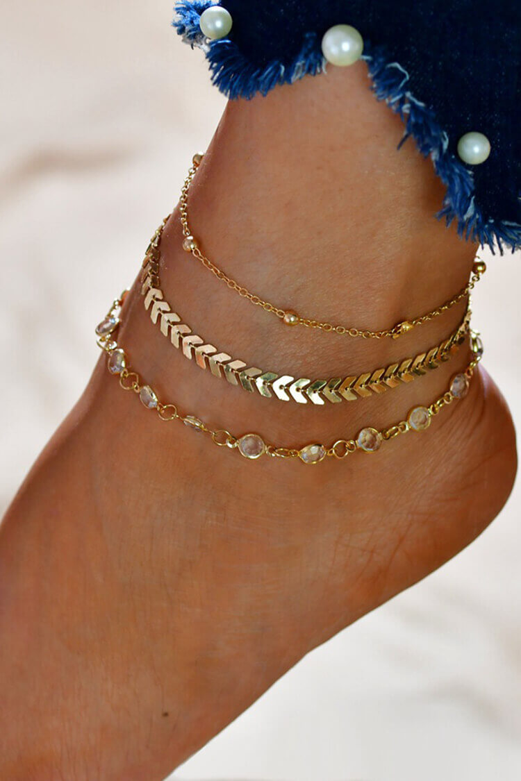 Rhinestone Decor Layer Stylish Anklet Chain