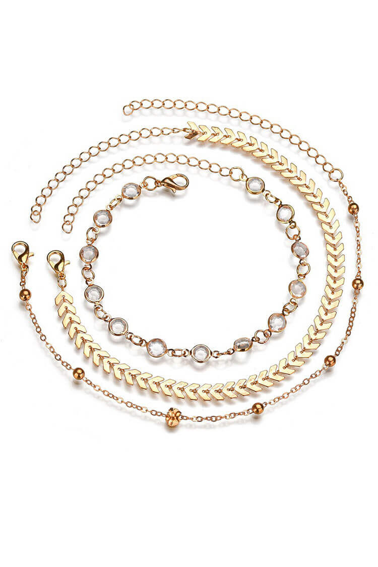 3 Pieces Rhinestone Decor Layer Stylish Anklet Chain