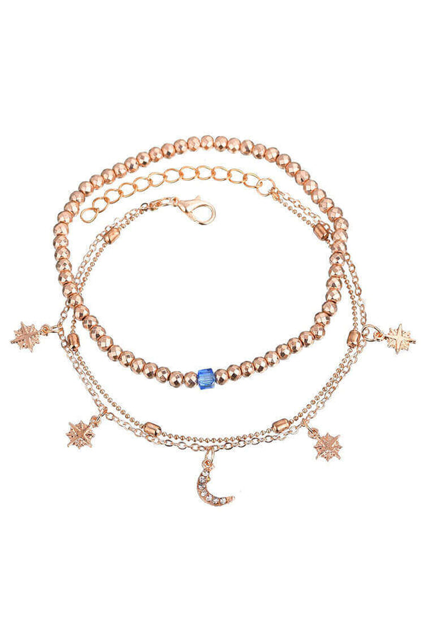 Star & Moon Multilayer Anklet Chain