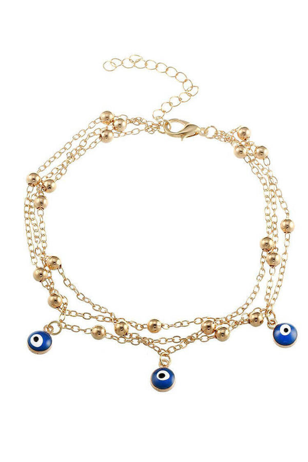 Women's Blue Eyes Pendant Anklet Set