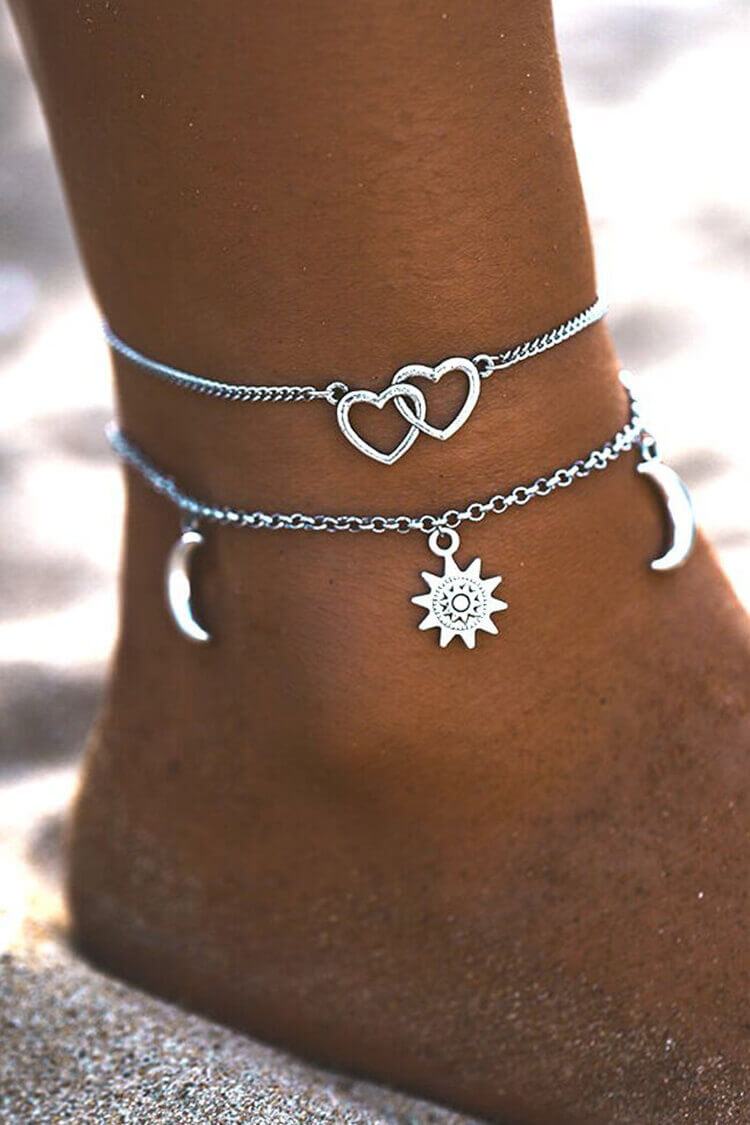 2-pieces Women's Double Heart Trendy Anklet