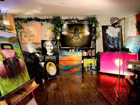 Art show video background with eclectic oil paintings