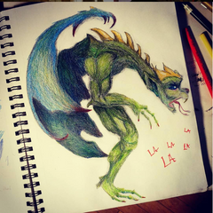 Sketch of a one-winged, one-legged dragon breathing la-la-la's