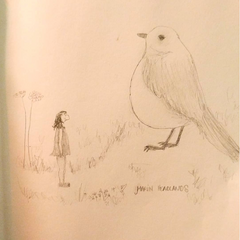 Sketch of me imagining little chirpy birds as 20 feet tall in the Marin Headlands