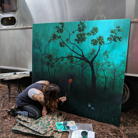 Laura Lippay, painting the redwoods, from her Airstream in the redwoods