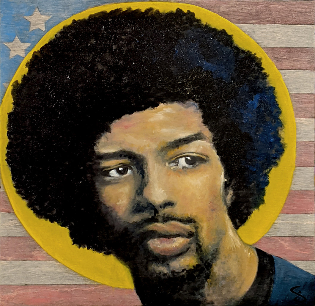 14 inch by 14 inch oil on wood painting of Gil Scott Heron with a yellow halo and a faded American Flag background
