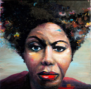 "Nina Simone. 18"" x 18"" Oil on canvas"