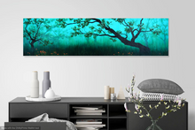 "Load image into Gallery viewer, Dusk in California. 36"" x 12"" on stretched canvas"