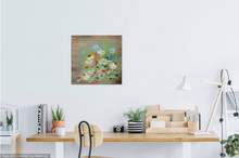 "Load image into Gallery viewer, Flowers on wood. 16"" x 16"" on wood"