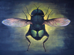 "Eristalis gatesi (The Bill Gates Flower Fly) Original Oil Painting 48"" x 36"""