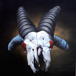 "Fred, the bad news 4-horned church goat. 36"" x 36"""