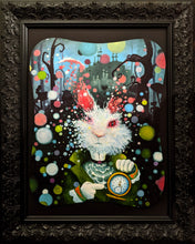 "Load image into Gallery viewer, Oh Dear! (The White Rabbit) 24.25"" x 30.25"" oil on canvas in ornate black frame"