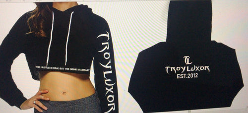 Black and White Troy Luxor Crop top hoodies
