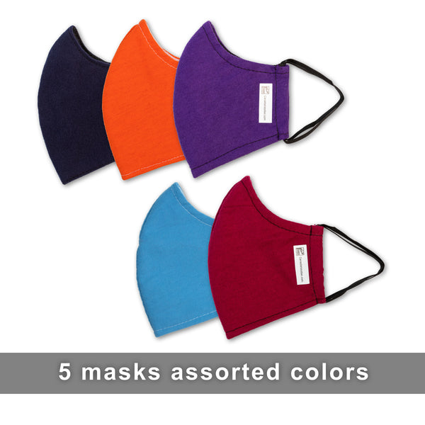 Face Masks - Assorted Colors 5 pack