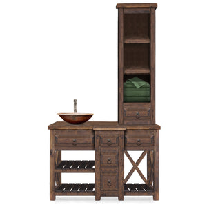 Madison Reclaimed Wood Bathroom Vanity with Tower