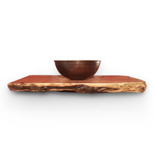 "13.5"" round vessel copper sink shown in a HappyFrog Decor reclaimed wood slab."