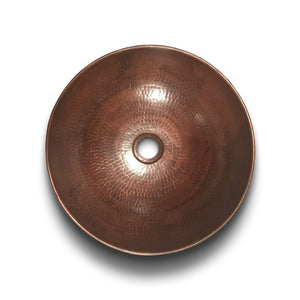 "13.5"" round vessel copper sink perfect for HappyFrog Decor reclaimed wood bathroom vanities."