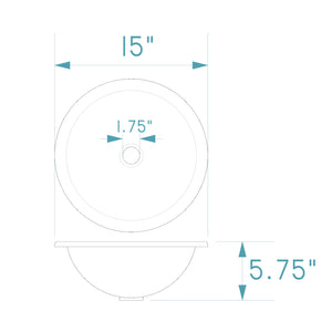 "Specifications for the happyfrog decor 15"" round copper sink."