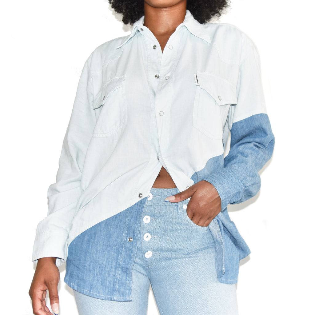 Each x Other Diagonal Color Block Denim Shirt on Well(un)known Available at Wellunknown.com