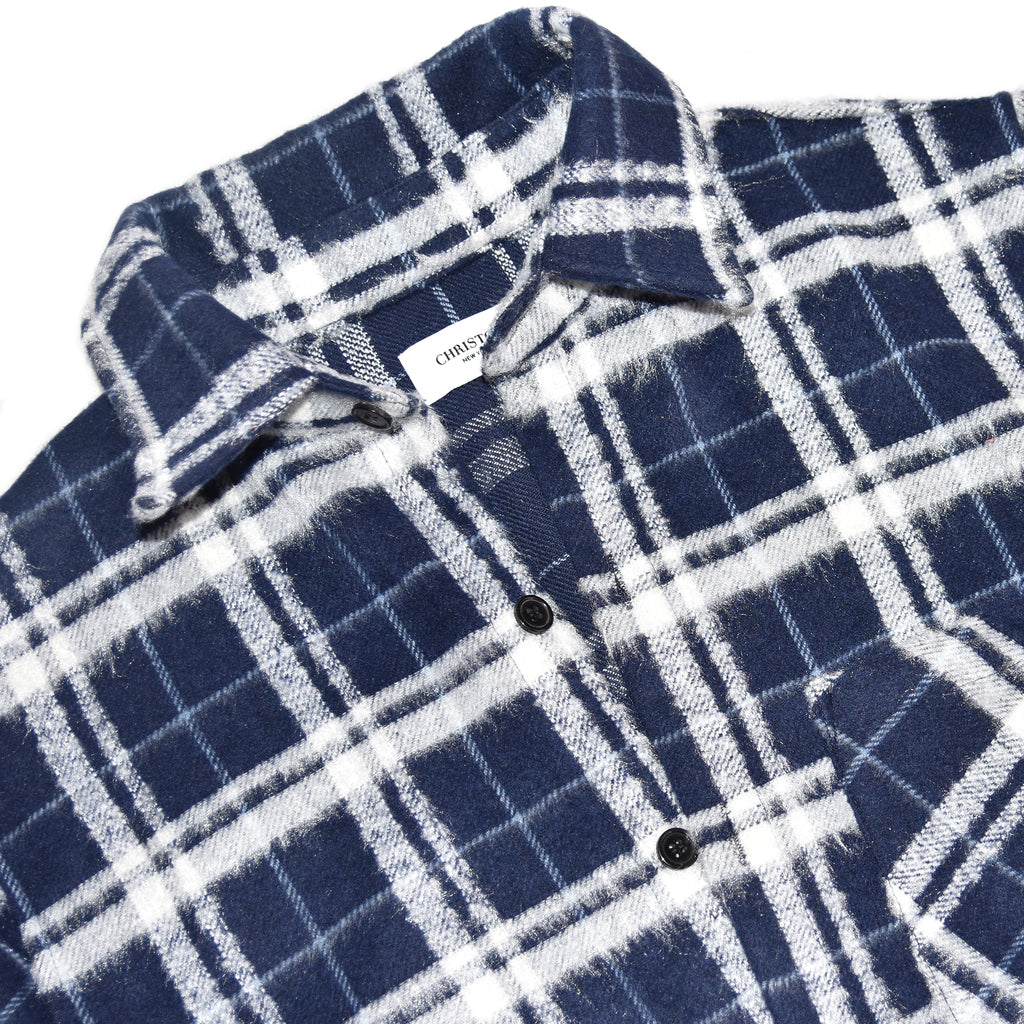 Christos Mohair Blue Plaid Long Sleeve Shirt on Well(un)known wellunknown.com