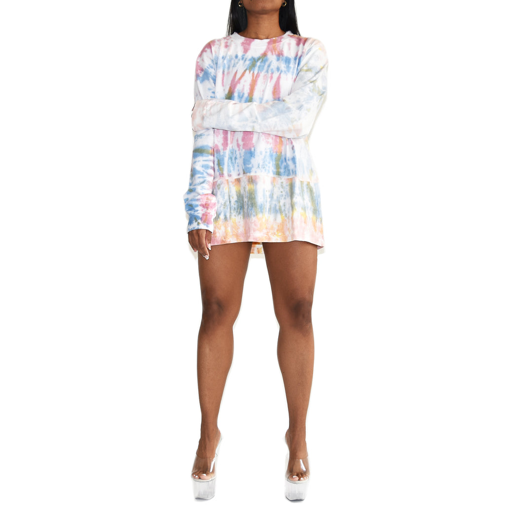 John Elliott Women's Reconstructed Long Sleeve Tie Dye Tshirt on Well(un)known. Available on Wellunknown.com