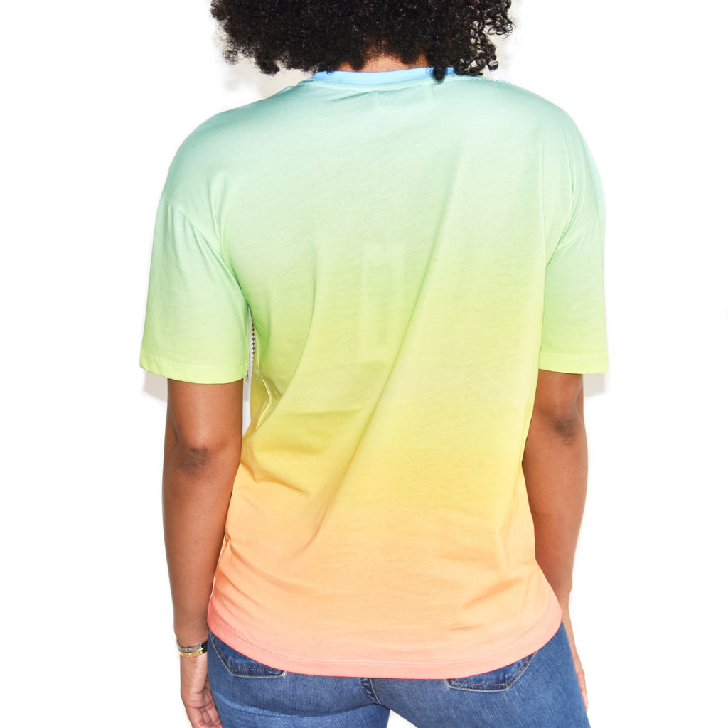 Each x Other Rainbow Tshirt with Diamond Fringe on Well(un)known Available at wellunknown.com