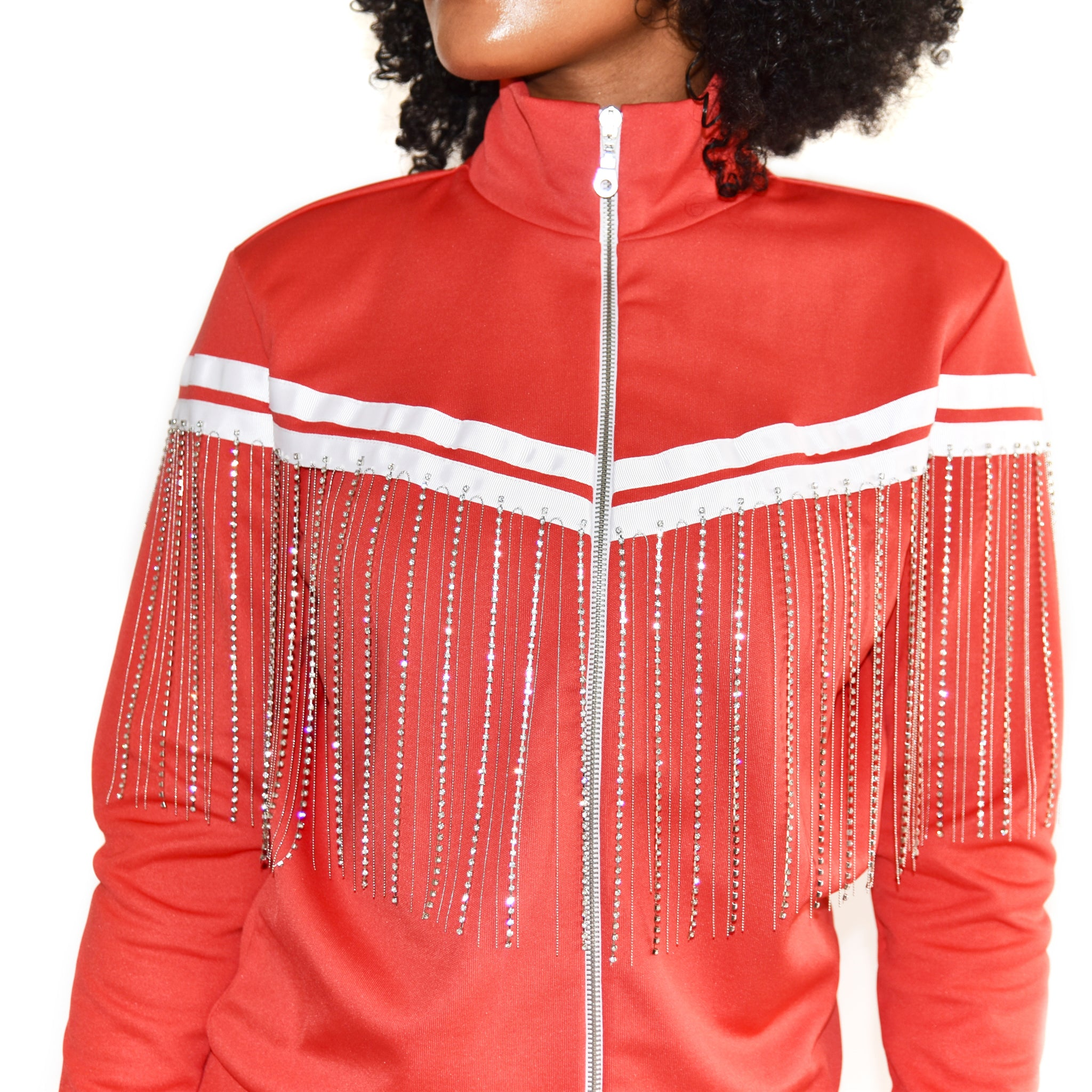 Each x Other Red Track Jacket with Diamond Fringe on Well(un)known Available at wellunknown.com