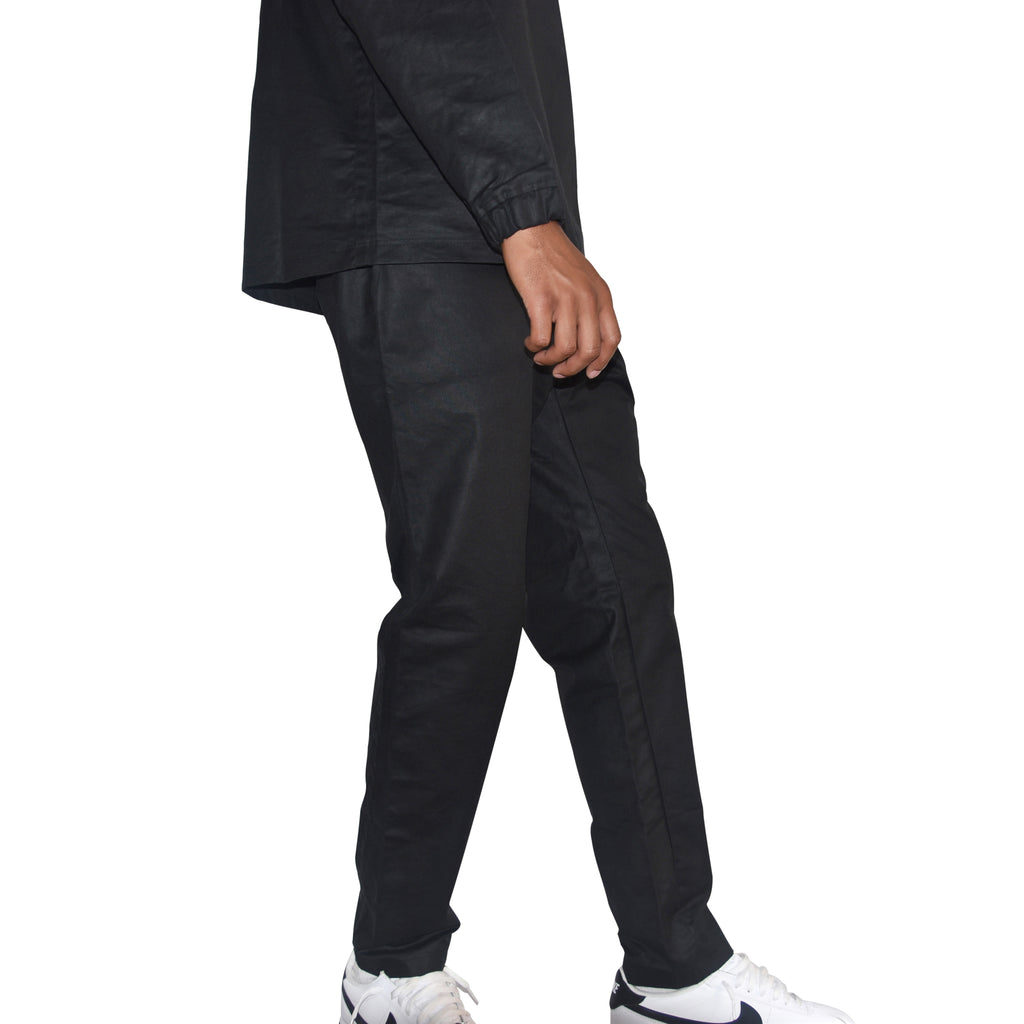 Habits Studios Waxed Cotton Track Pant in Black on Well(un)known wellunknown.com