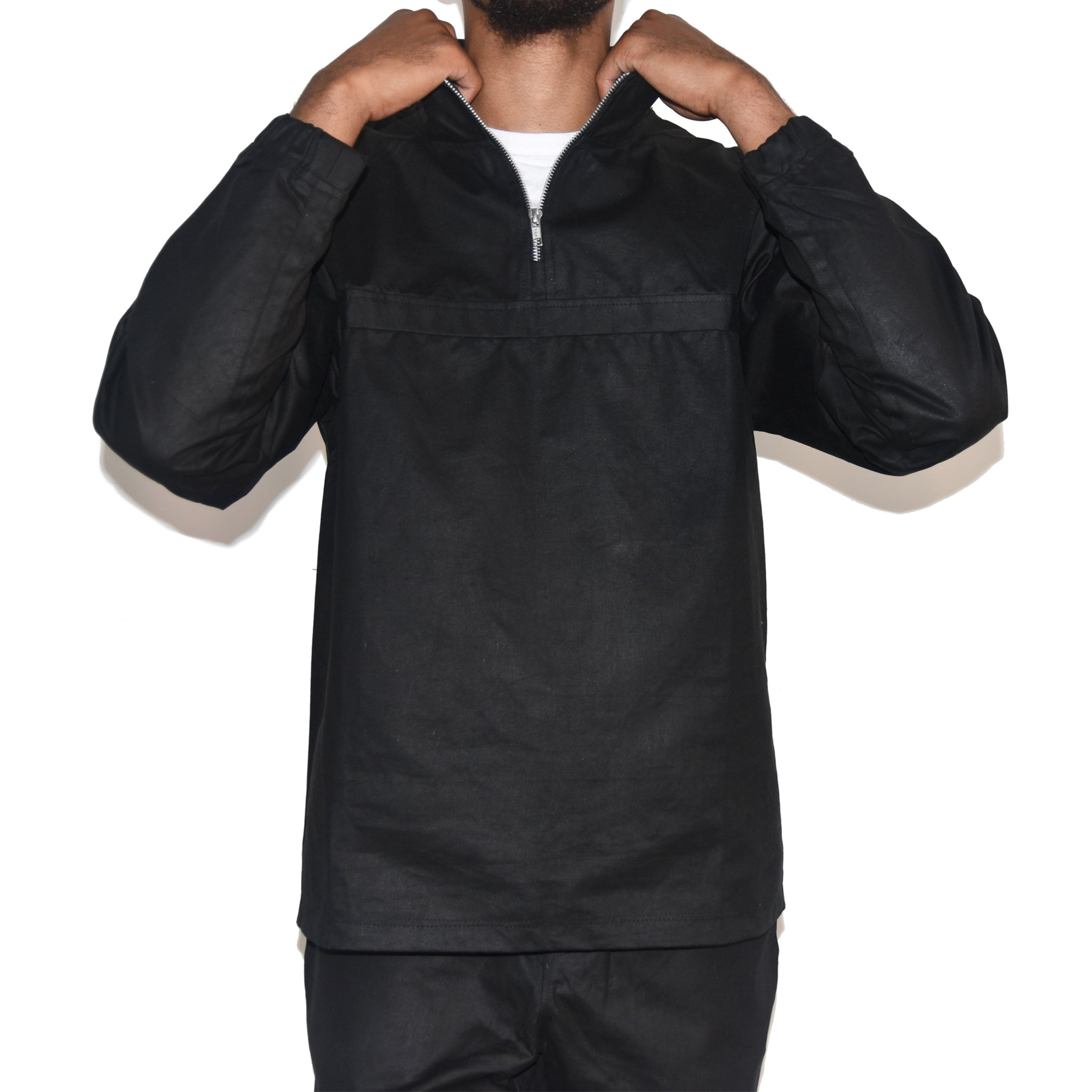Habits Studios Waxed Cotton Half Zip Pullover Jacket in Black on Well(un)known wellunknown.com