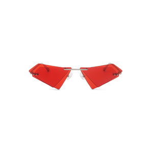 Percy Lau Xander Zhou Triangle Sunglasses in red on Well(un)known Available at wellunknown.com
