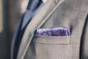 silk pocket square Purple micro chain pattern purple paisley foundation menswear gray suit